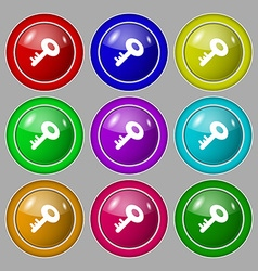 Key icon sign symbol on nine round colourful vector