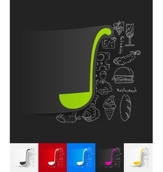 ladle paper sticker with hand drawn elements vector image