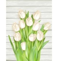 White tulips on light wooden background EPS 10 vector image