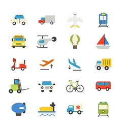 Transportation flat icons color vector