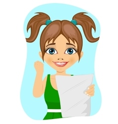 happy little girl celebrates holding paper vector image