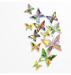 Colorful butterflies in the wave form design vector