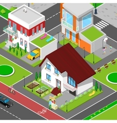 Isometric city cottage dormitory area vector