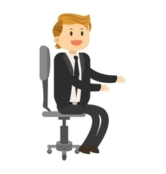 happy businessman sitting on chair icon vector image