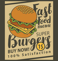Banner with super cheeseburger on retro style vector