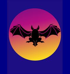 bat flying over full moon vector image