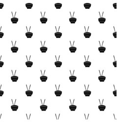 Bowl of rice with chopsticks pattern vector