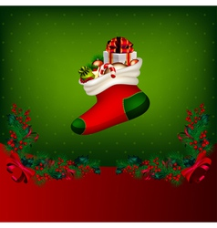bright christmas background with garland from fir- vector image