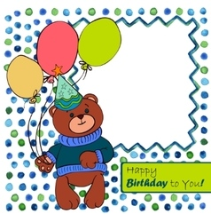 Card with bear boy vector image vector image
