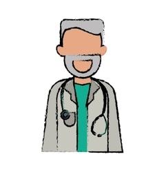 Cartoon character doctor beard stethoscope health vector