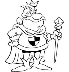 Cartoon King Holding a Scepter vector image