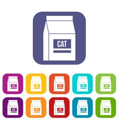 cat food bag icons set flat vector image vector image