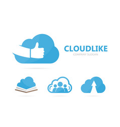 Cloud and like logo combination storage vector