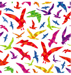Colorful polygonal birds seamless pattern vector
