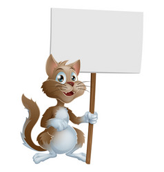 cute cartoon cat character with sign vector image