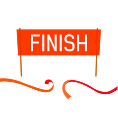 finish flat banner with red tape vector image