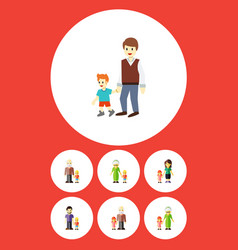 Flat icon family set of boys grandson grandpa vector
