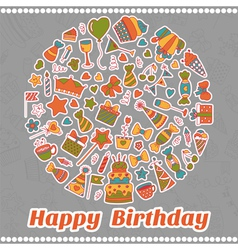 Happy birthday card hand drawn birthday elements vector