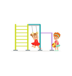 happy kids having fun on playground in vector image