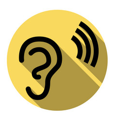 Human ear sign flat black icon with flat vector