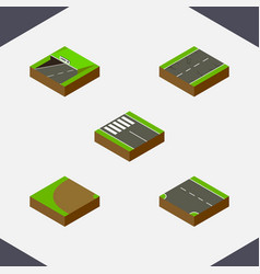 Isometric way set of subway turning downward and vector
