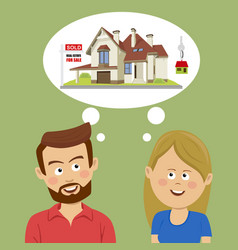 Just married couple dreaming about new house vector