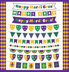mardi gras bunting banners set vector image