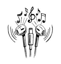 mobile headphones doodle sketch vector image