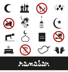 Ramadan islam holiday black icons set eps10 vector