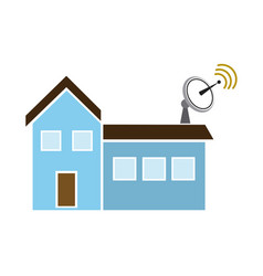 satellite dish and antenna tv on the house roof vector image
