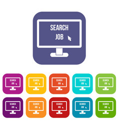 Search job icons set vector