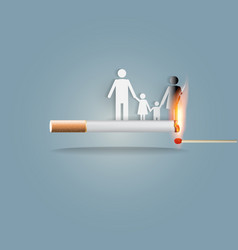 Smoking burns family vector