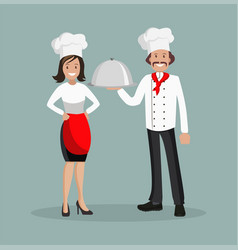 the chef is a man and a woman style flat vector image vector image