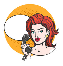 woman with phone drawn in pop art style vector image