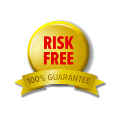 Yellow button with words risk free vector