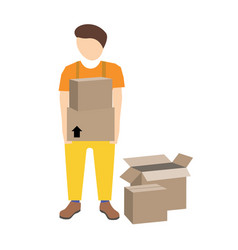 young mover with cardboard boxes vector image