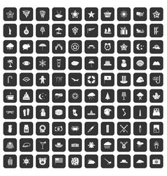 100 star icons set black vector