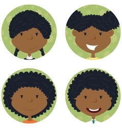 African american school girls avatar vector image