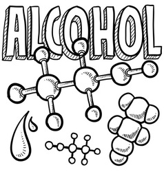 Doodle science molecule alcohol vector
