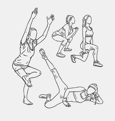 fitness training sport line art drawing style vector image