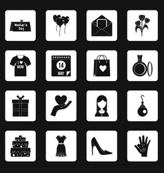 mothers day icons set squares vector image