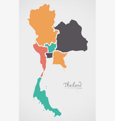 Thailand map with states and modern round shapes vector