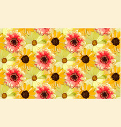 Vintage orange dahlia yellow sunflower repeated vector
