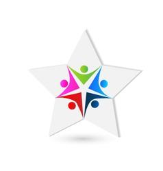 Teamwork star shape logo vector image