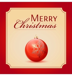Classic Christmas ball red and glossy decoration vector image