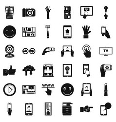 Downloading icons set simple style vector