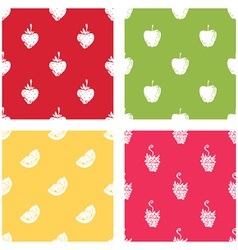 Set of seamless patterns of fruits vector image