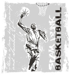 Slam dunk basketball player vector