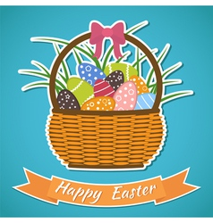 Happy easter card basket with easter eggs easter vector