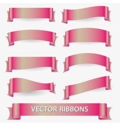 Light pink various curved empty ribbon banners vector